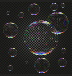 Soap water bubbles on dark backdrop vector