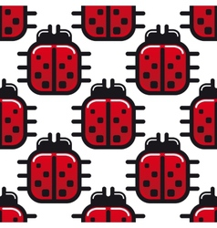 Stylized red ladybug seamless pattern vector