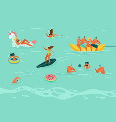 swimming people men and woman in swimsuit vector image