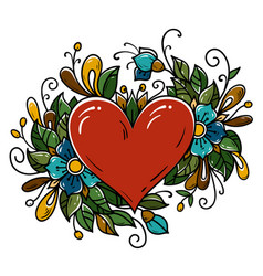 Tattoo red heart decorated blue flowers curls vector
