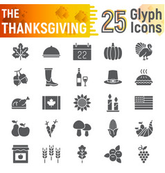 thanksgiving glyph icon set holiday symbols vector image