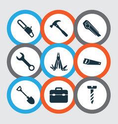 tools icons set with chainsaw utility knife vector image