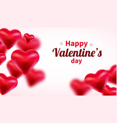 valentines day background with red 3d hearts cute vector image