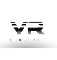 vr black and white horizontal stripes letter logo vector image
