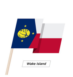wake island ribbon waving flag isolated on white vector image