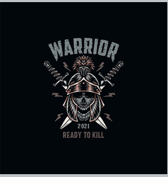 warrior skull t shirt graphic design vector image