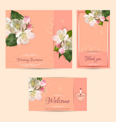 Wedding set template light orange vector