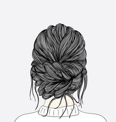 women hairstyles taken from that back side after vector image