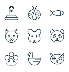 Zoo icons set with seafood ladybug owl and other vector