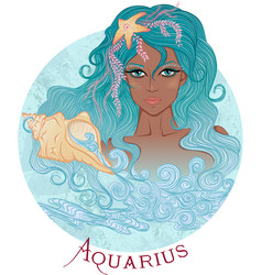 Astrological sign of Aquarius as a african girl vector image vector image