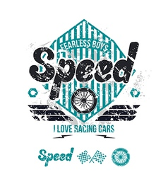Emblem of the racing car in retro style vector image