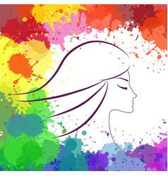 face of beautiful girl makeup artist logo vector image