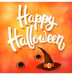 Halloween greeting card with witch hat spiders vector image vector image