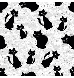 Seamless background with cats silhouettes vector image vector image