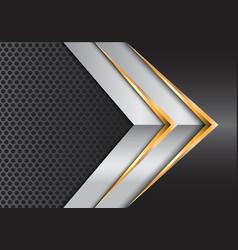 abstract gold silver arrow gray metal circle mesh vector image