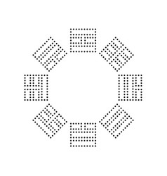 bagua sign black dotted icon on white vector image