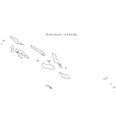 Black White Solomon Islands Outline Map vector image vector image
