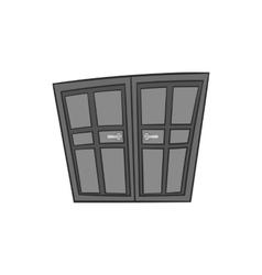 Double door icon black monochrome style vector