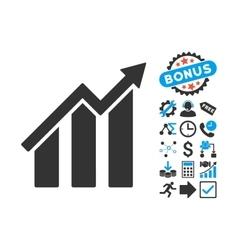 Growth Chart Flat Icon with Bonus vector image