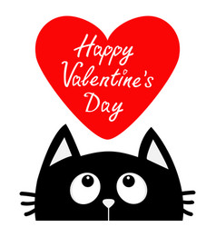 Happy valentines day black cat looking up to big vector