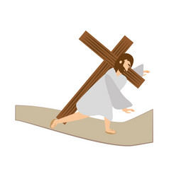 jesus christ third fall via crucis station vector image