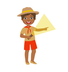 young boy scout holding a flashlight a colorful vector image vector image