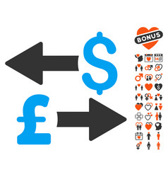 Dollar pound transactions icon with lovely bonus vector