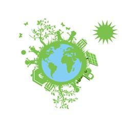 green eco globe vector image vector image