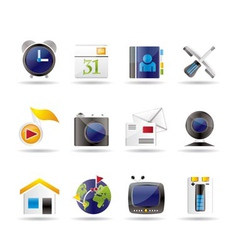 mobile phone and computer icons vector image