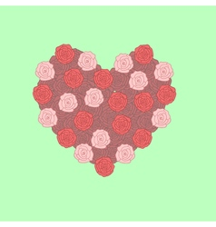 Painted heart of roses vector image