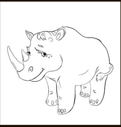 rhinoceros black and white contour for coloring vector image vector image
