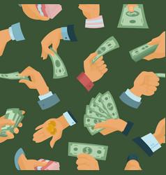 businessman human hands hold paper money backs vector image