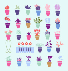 collection colorful silhouette of garden house vector image