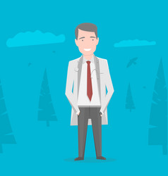 doctor in white coat over blue background vector image vector image