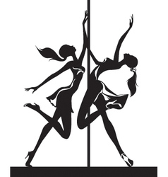 Pole dancers performance vector image vector image