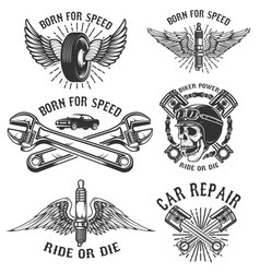 set of car repair and racing emblems spark plug vector image vector image