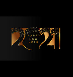 2021 new year golden paper cut banner with shimer vector image