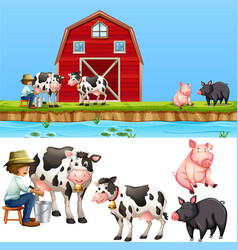 A farmland landscape and isolated character vector