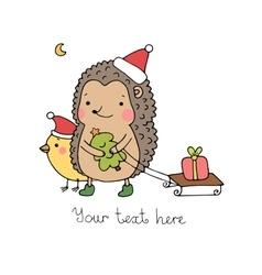 A hedgehog a bird a gift and a Christmas tree vector