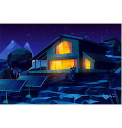 Autonomous house with solar panels cartoon vector