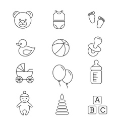Baby toys and care thin line icons vector