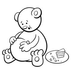 Bear cartoon coloring book vector