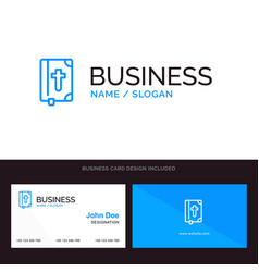 Book bible easter holiday blue business logo vector