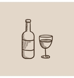 Bottle of wine sketch icon vector image