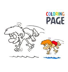 boy splashing in water cartoon coloring page vector image