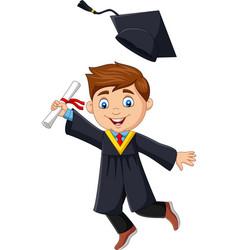 cartoon boy graduate holding a diploma vector image