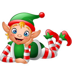 cartoon elf lying on the floor vector image