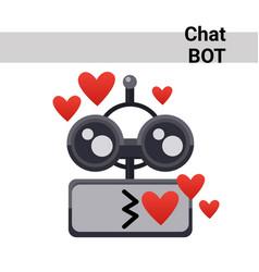 Cartoon robot face smiling cute emotion blow kiss vector