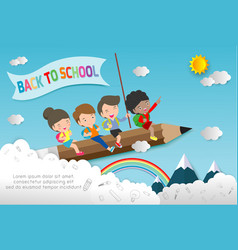 children flying on pencileducation concept vector image