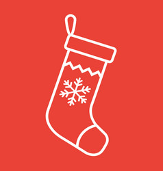 christmas stocking line icon new year vector image